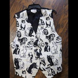 Vintage Cat Print Tapestry Women's Vest Size XL